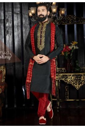 Men's Exquisite Black Color & Dupion Art Silk Readymade Kurta