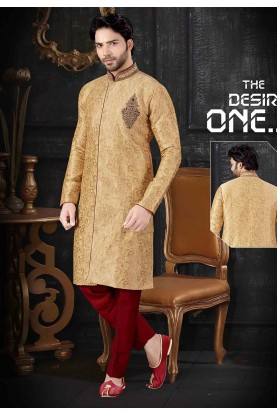Golden Colour Jacquard Men's Indowestern.