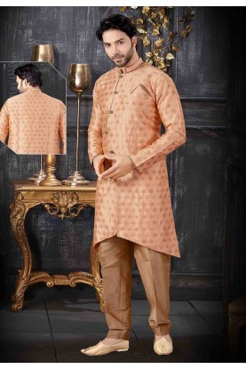 Peach Colour Jacquard Indowestern.