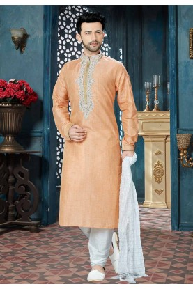 Peach Color Readymade Kurta Pajama.