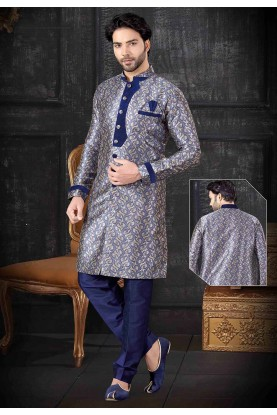 Royal Blue Colour Jacquard Men's Indowestern.