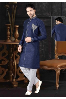 Blue Colour Indowestern For Men.