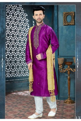 Purple Color Designer Kurta Pajama.