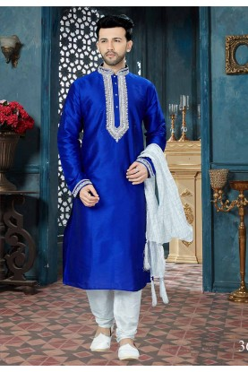 Blue Color Indian Kurta Pajama.