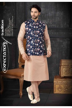 Cream,Blue Colour Kurta Pajama With Jacket.