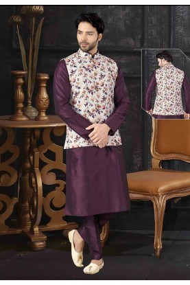 Wine,Off White Colour Silk Designer Kurta Pajama.