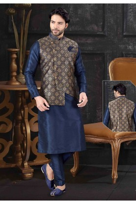 Blue Colour Art Silk Readymade Kurta Pajama Jacket.