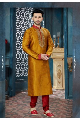 Golden,Yellow Color Wedding Kurta Pajama.