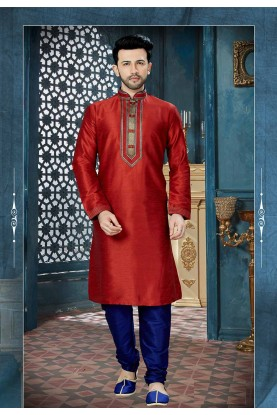 Maroon Color Readymade Kurta Pajama.