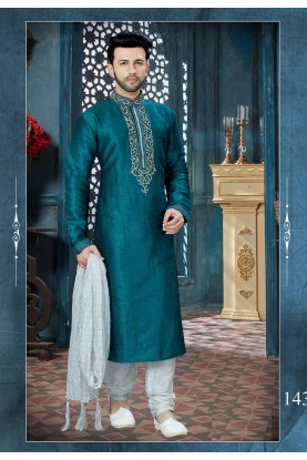 Green Color Dupion Silk Kurta Pajama.