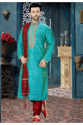 Green Color Kurta Pyjama.