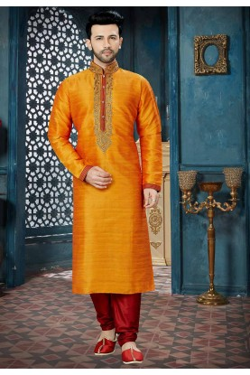 Orange Color Indian Designer Kurta Pajama.