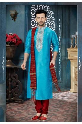 Turquoise Color Kurta Pyjama.