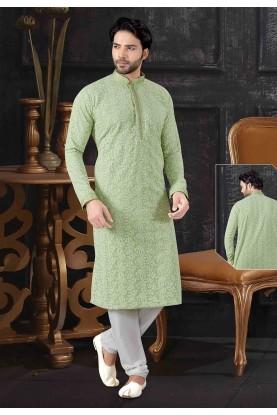 Pista Green Colour Designer Lucknowi Kurta Pajama.
