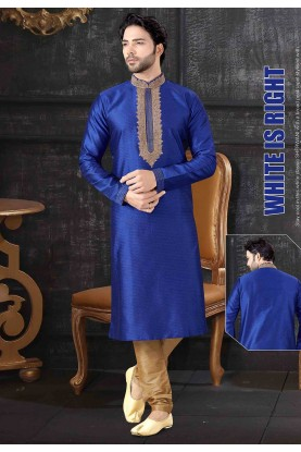 Royal Blue Colour Party Wear Kurta Pajama.