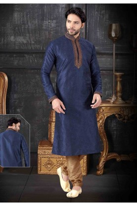 Indian Designer Kurta Pajama Navy Blue Colour.