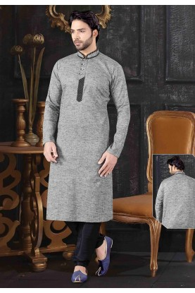 Grey Colour Khadi Fabric Men's Kurta Pajama.