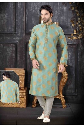 Pista Green Colour Silk Kurta Pajama.