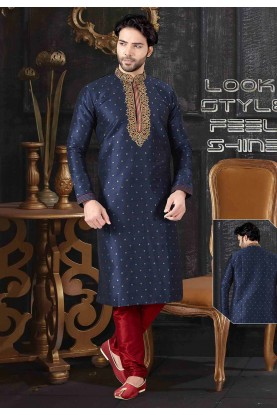 Navy Blue Colour Indian Designer Kurta Pajama.