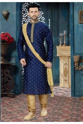 Blue Color Party Wear Kurta Pajama.