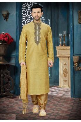 Golden Color Indian Wedding Kurta Pajama.