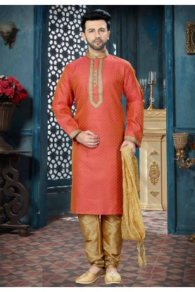 Pink,Orange Color Readymade Kurta Pajama.
