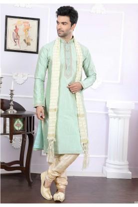Buy designer kurta pajama in green colour for wedding