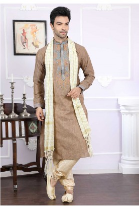 Buy silk kurta pyjama online in brown colour