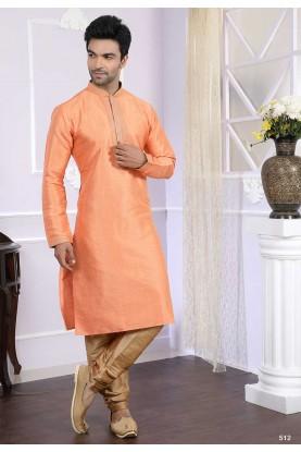 Buy designer kurta pajama in peach colour