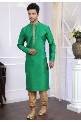 Buy indian kurta pyjama online in green colour