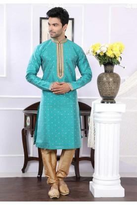Buy designer kurta pajama in green colour