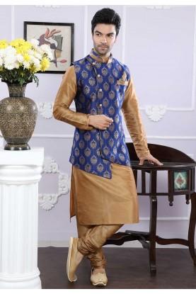Buy designer kurta pajama in beige, blue colour
