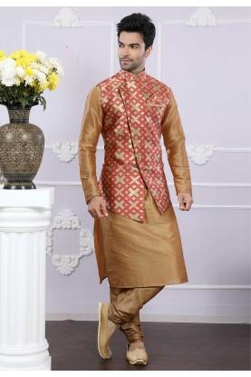 Buy kurta pyjama online in beige, red colour