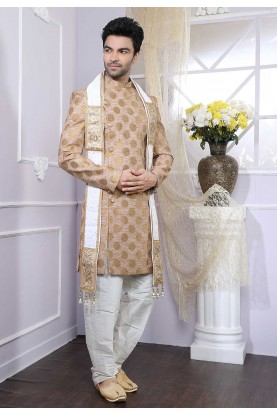 Beige Colour Wedding Indowestern.