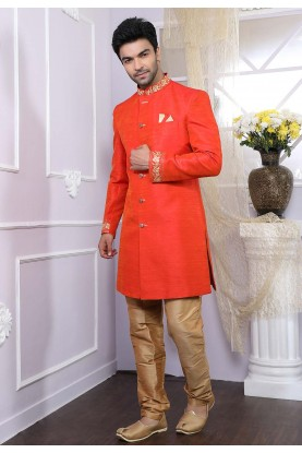 Rust Colour Men's Indowestern.