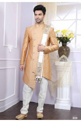 Beige Colour Men's Indowestern.