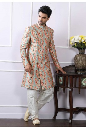 Blue Colour Printed Indowestern.