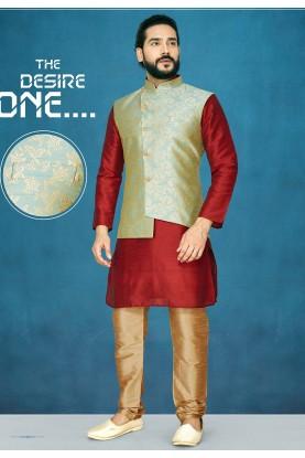 Red,Green Colour Readymade Kurta Pajama.
