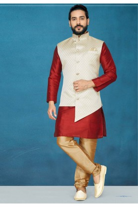 Red,Cream Colour Men's Wear Kurta Pajama.