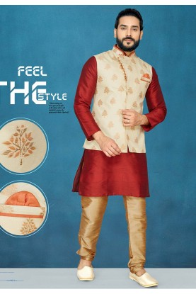 Designer Kurta Pajama in Red,Cream Colour.