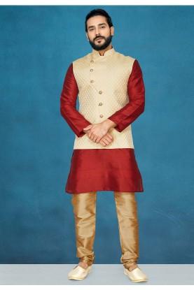 Red,Cream Colour Indian Kurta Pajama.