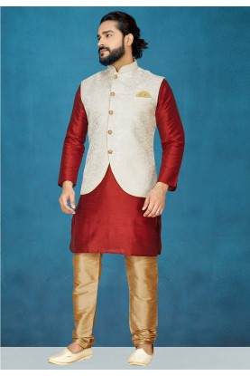Men's Wear Kurta Pajama in Red,Off White Colour.
