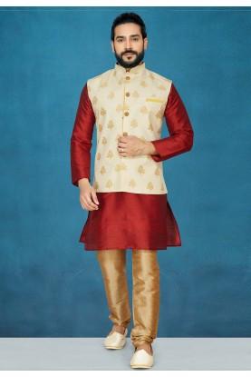Red,Cream Colour Readymade Kurta Pajama.