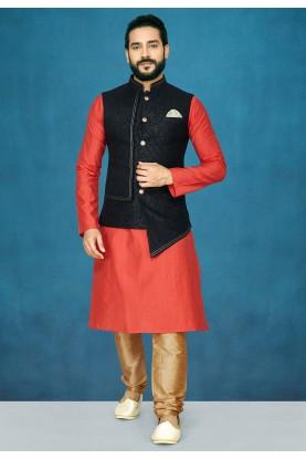 Red,Black Colour Stylish Kurta Pajama.