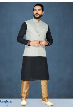 Black,Grey Colour Kurta Pajama With Jacket.