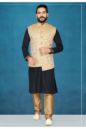 Black,Golden Colour Printed Kurta Pajama.