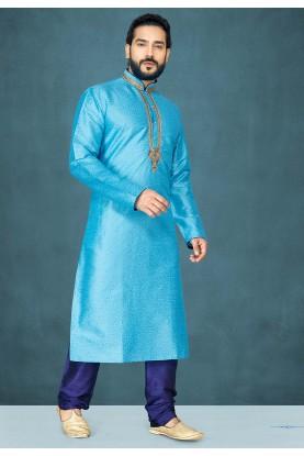 Blue Colour Raw Silk Kurta Pajama.