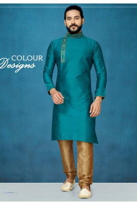 Readymade Kurta Pajama in Green Colour.