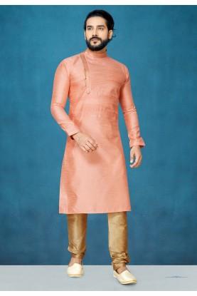 Peach Colour Kurta Pajama For Men's.