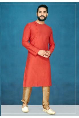 Red Colour Men's Kurta Pajama.